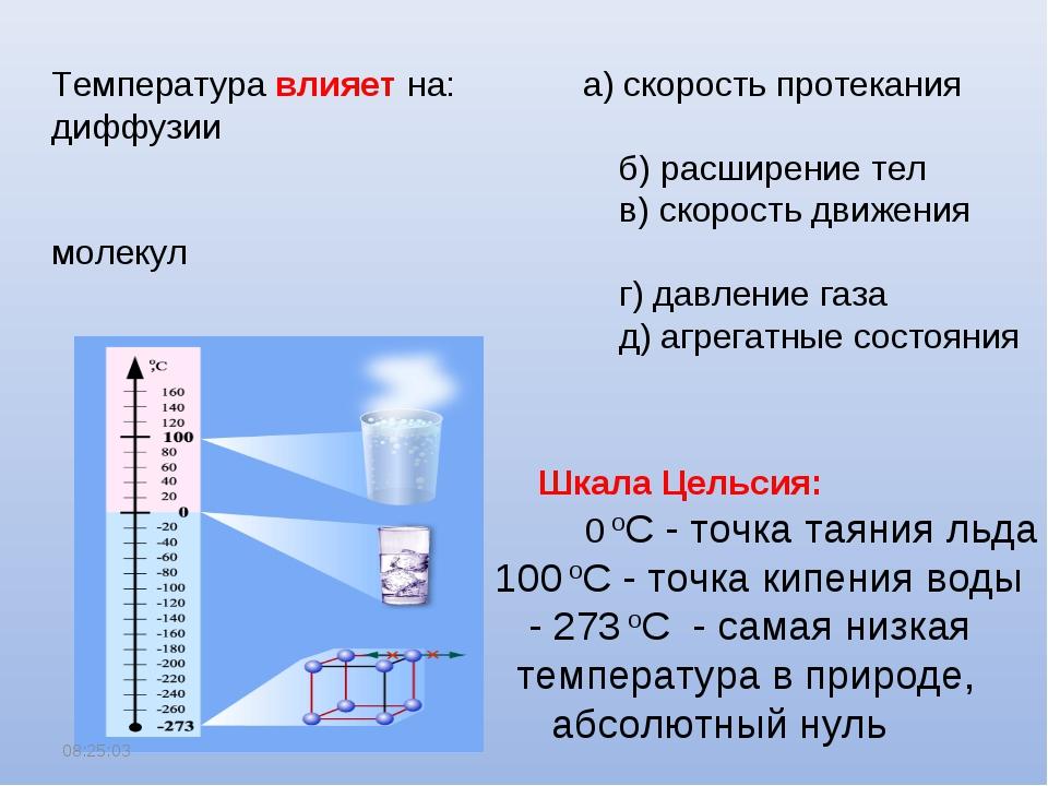 * Температура влияет на: а) скорость протекания диффузии б) расширение тел в)...