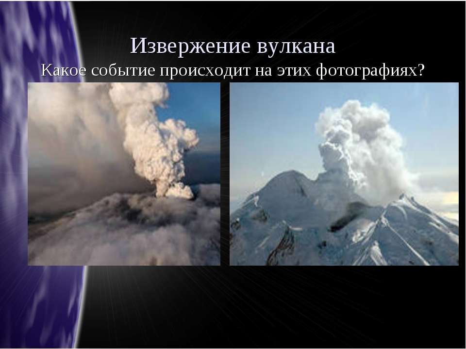Извержение вулкана Какое событие происходит на этих фотографиях?