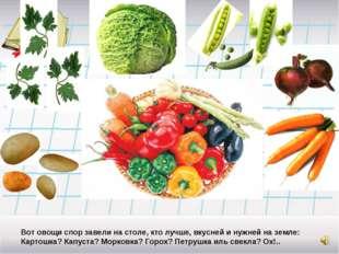 Вот овощи спор завели на столе, кто лучше, вкусней и нужней на земле: Картошк