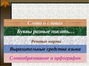 Слово о словах Буквы разные писать… Речевые нормы Выразительные средства язык