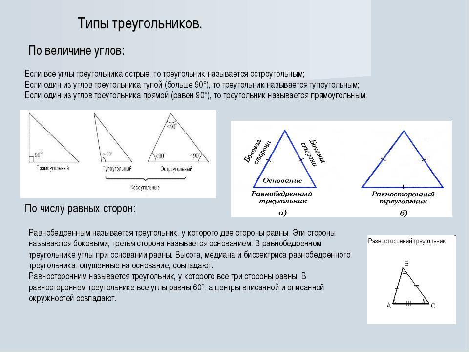 Типы треугольников. По величине углов: Если все углы треугольника острые, то...