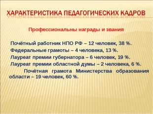 Профессиональны награды и звания Почётный работник НПО РФ – 12 человек, 38 %.