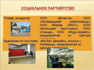 Повар, кондитерООО «Власта», ОАО «Люберецкий хлебозавод», ООО Фирма «УЮТ», О