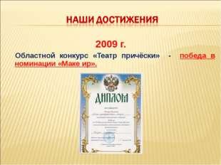 2009 г. Областной конкурс «Театр причёски» - победа в номинации «Маке ир».