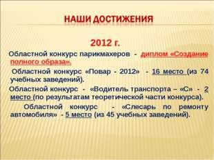 2012 г. Областной конкурс парикмахеров - диплом «Создание полного образа». Об