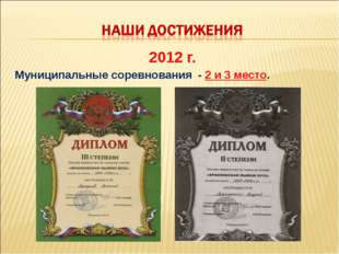 2012 г. Муниципальные соревнования - 2 и 3 место.