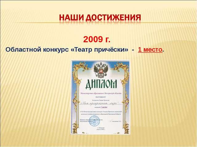 2009 г. Областной конкурс «Театр причёски» - 1 место.