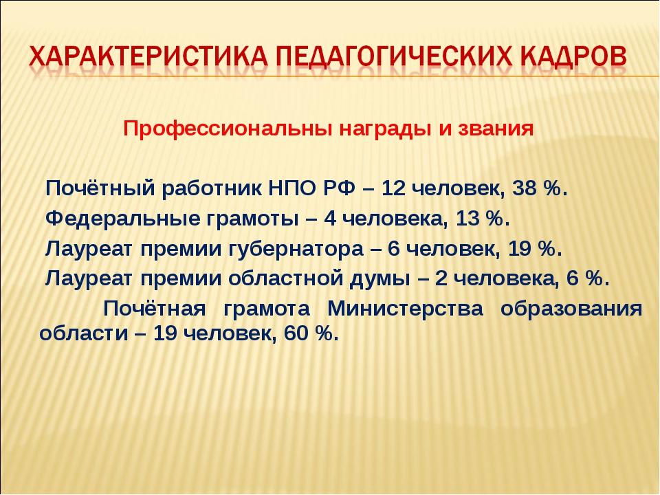 Профессиональны награды и звания Почётный работник НПО РФ – 12 человек, 38 %....