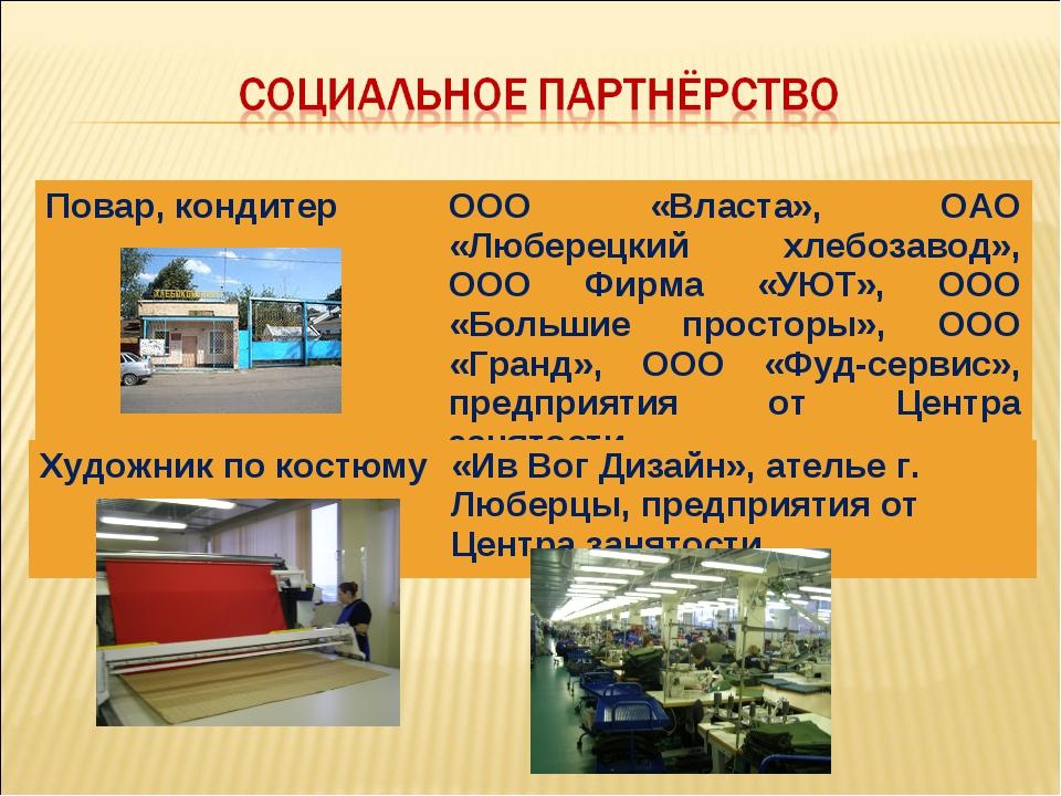 Повар, кондитерООО «Власта», ОАО «Люберецкий хлебозавод», ООО Фирма «УЮТ», О...