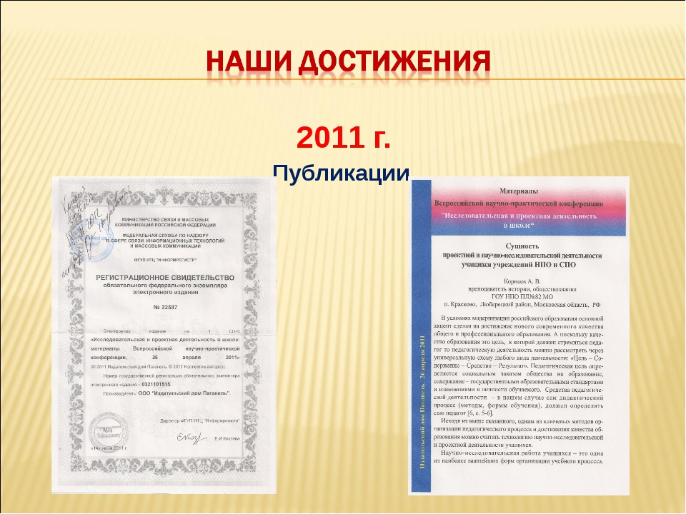 2011 г. Публикации