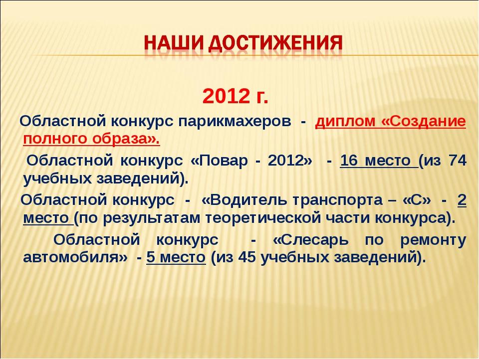 2012 г. Областной конкурс парикмахеров - диплом «Создание полного образа». Об...