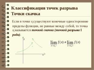 Классификация точек разрыва Точки скачка Если в точке х0 существуют конечные