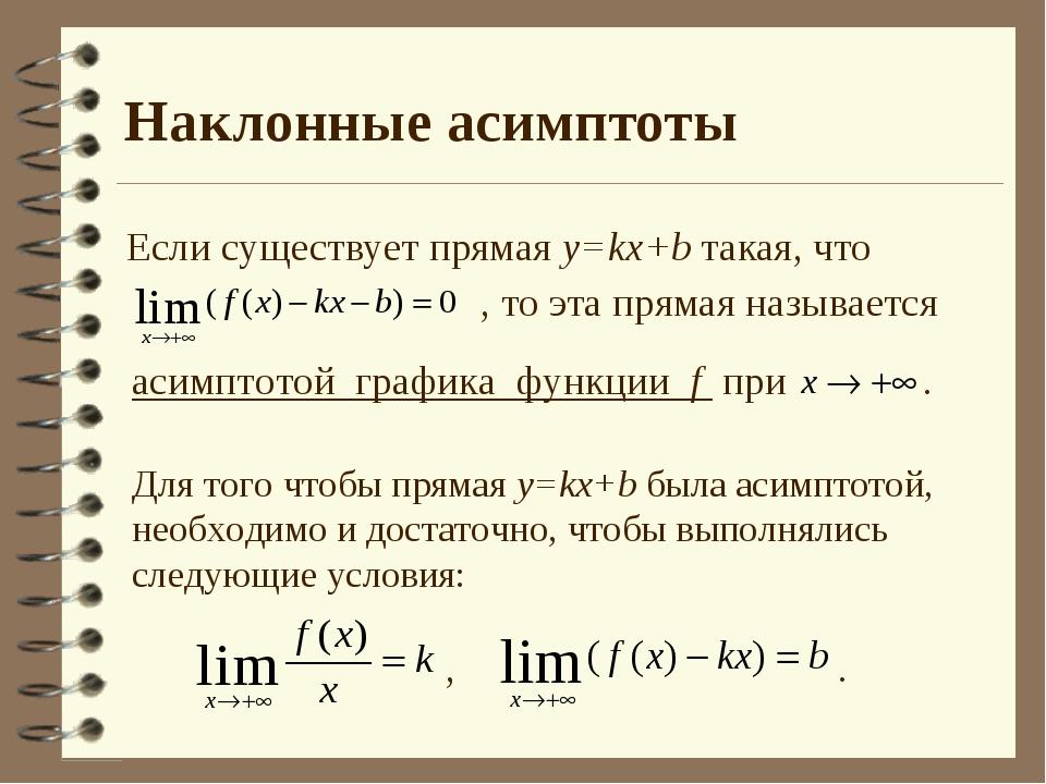 Наклонные асимптоты Если существует прямая y=kx+b такая, что , то эта прямая...