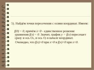 5). Найдём точки пересечения с осями координат. Имеем: f(0) = 0, причём x=0 -