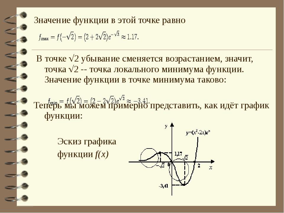 Значение функции в этой точке равно В точке √2 убывание сменяется возрастание...