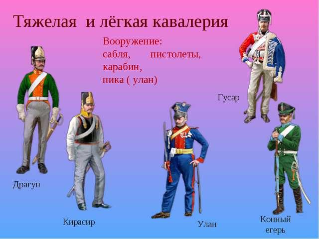 Тяжелая и лёгкая кавалерия Драгун Кирасир Гусар Улан Конный егерь Вооружение:...