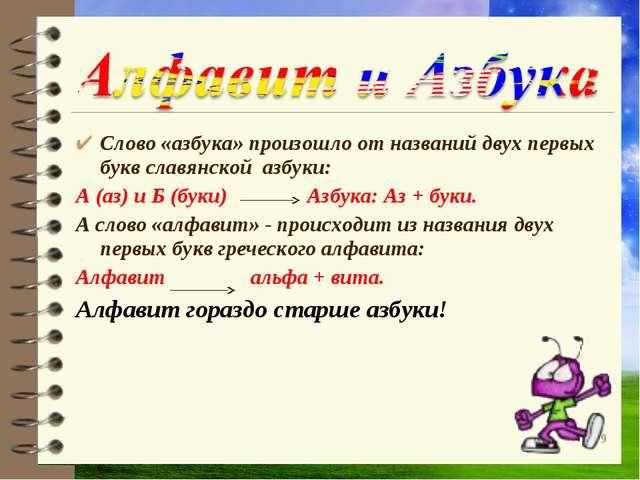 Слово «азбука» произошло от названий двух первых букв славянской азбуки: А (а...