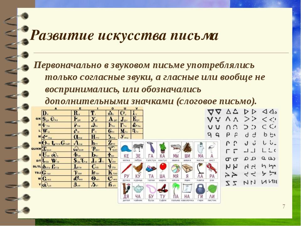 Развитие искусства письма Первоначально в звуковом письме употреблялись тольк...