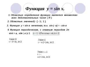 Функция у = sin x. 1. Областью определения функции является множество всех де