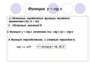 Функция у = ctg x 1. Областью определения функции является множество (πn; π +