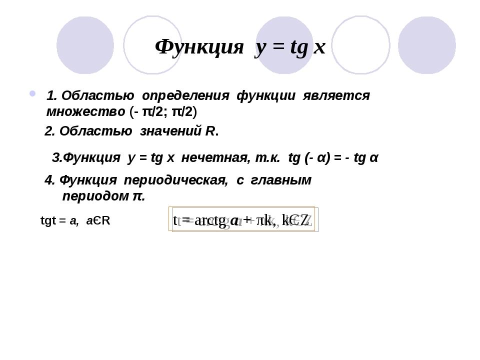 Функция у = tg x 1. Областью определения функции является множество (- π/2; π...