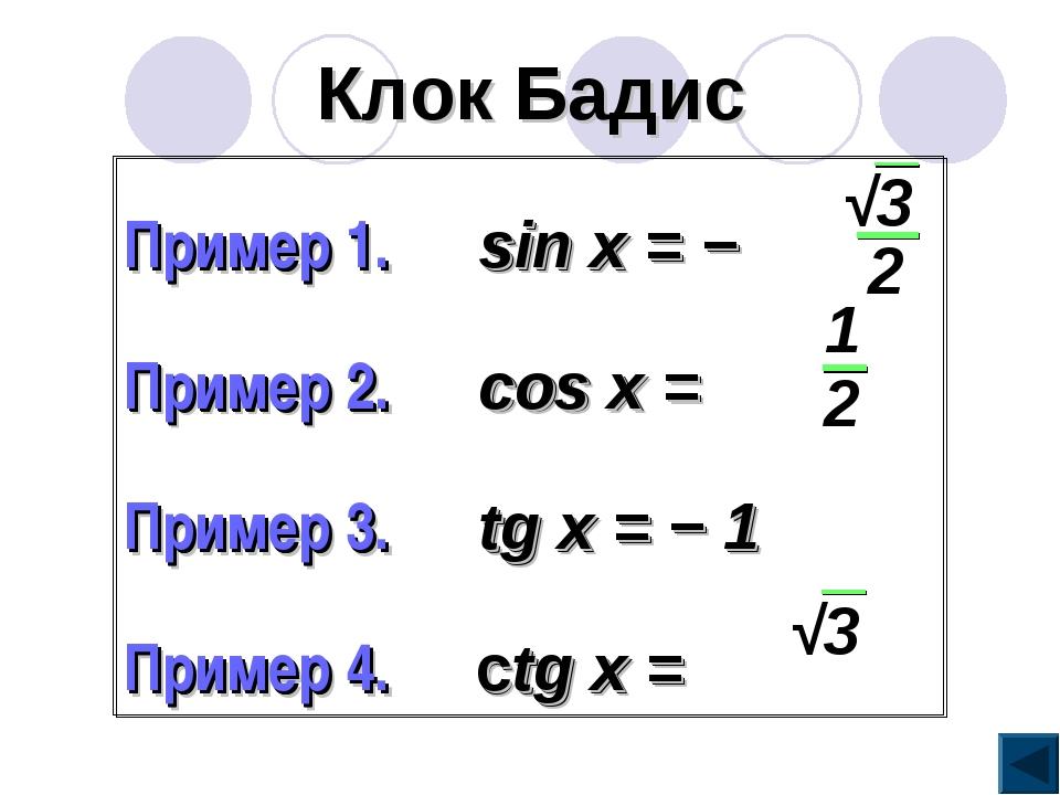 Клок Бадис Пример 1. sin x = − Пример 2. cos x = Пример 3. tg x = − 1 Пример...