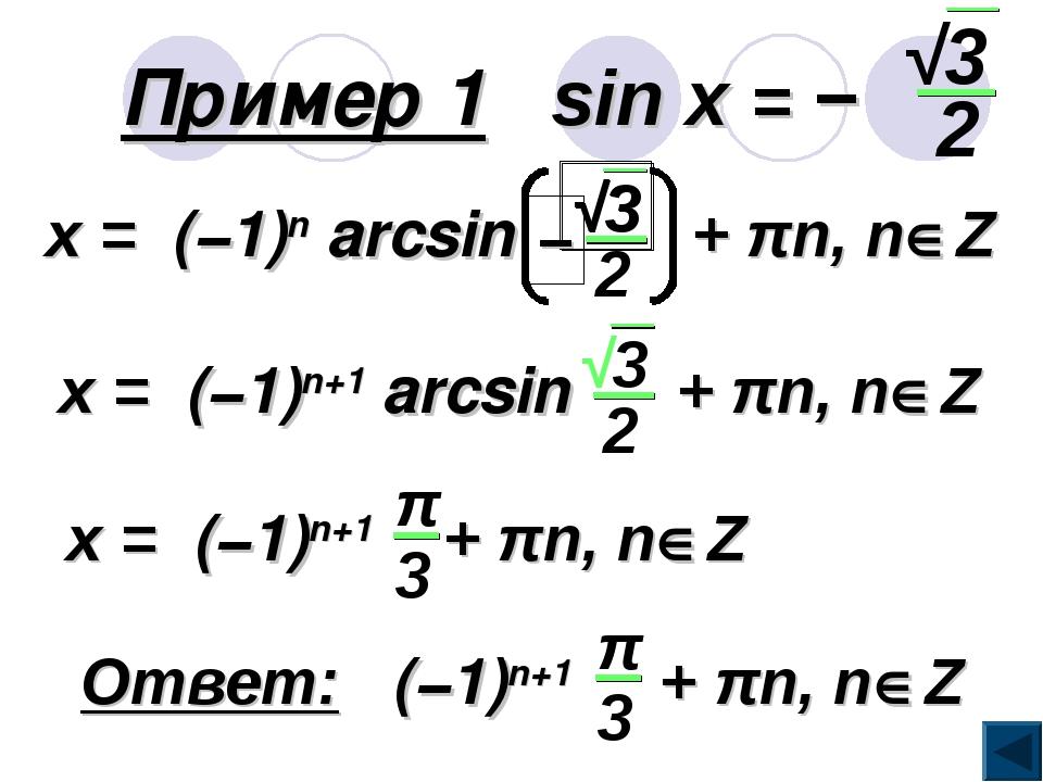 Пример 1 sin x = −