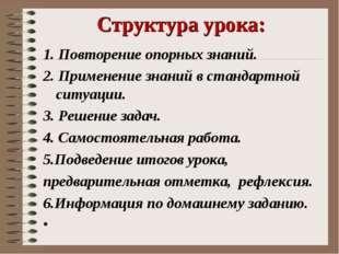 Структура урока: 1. Повторение опорных знаний. 2. Применение знаний в стандар