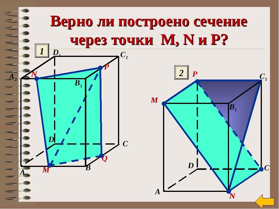 Верно ли построено сечение через точки M, N и P? М N Q A B C A1 C1 D1 D B1 P...