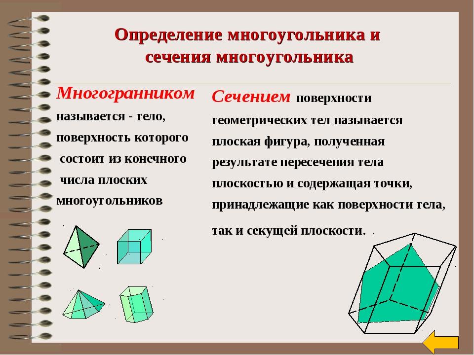 Определение многоугольника и сечения многоугольника Многогранником называется...