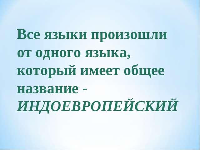 Все языки произошли от одного языка, который имеет общее название - ИНДОЕВРОП...