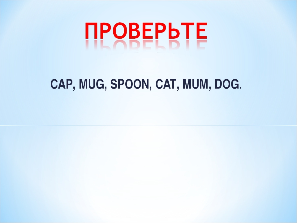 CAP, MUG, SPOON, CAT, MUM, DOG.