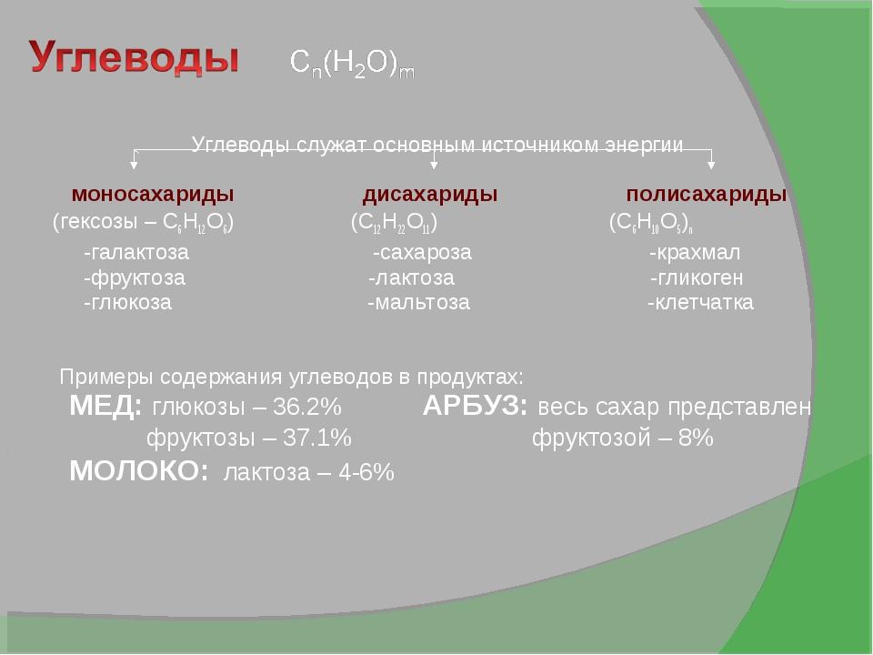 Углеводы служат основным источником энергии моносахариды дисахариды полисаха...