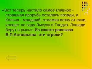«Вот теперь настало самое главное - страшная прорубь осталась позади, а Кольч