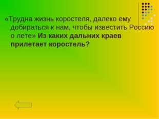 «Трудна жизнь коростеля, далеко ему добираться к нам, чтобы известить Россию