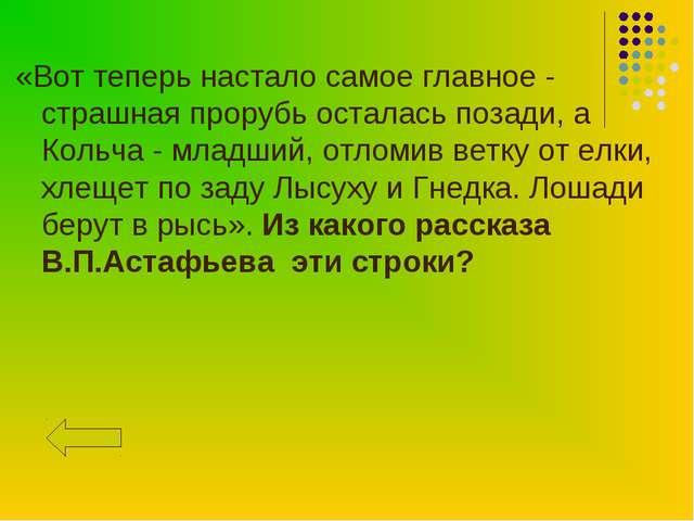 «Вот теперь настало самое главное - страшная прорубь осталась позади, а Кольч...