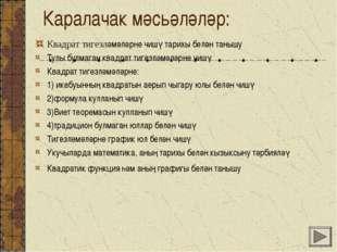 Каралачак мәсьәләләр: Квадрат тигезләмәләрне чишү тарихы белән танышу Тулы бу