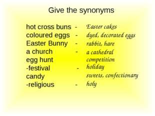 Give the synonyms hot cross buns - coloured eggs - Easter Bunny - a church -