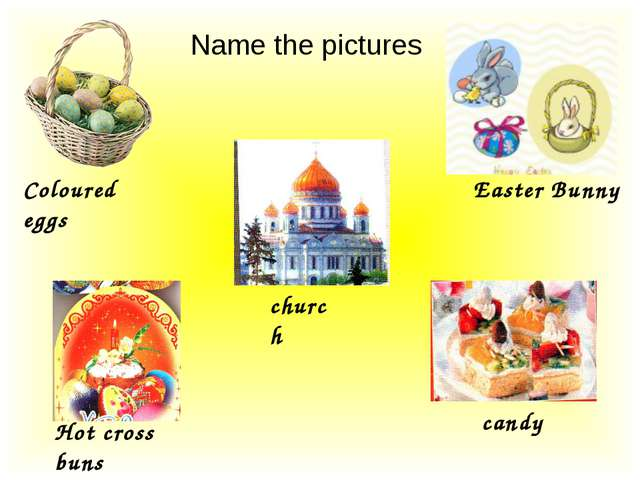 Name the pictures Coloured eggs Easter Bunny church Hot cross buns candy
