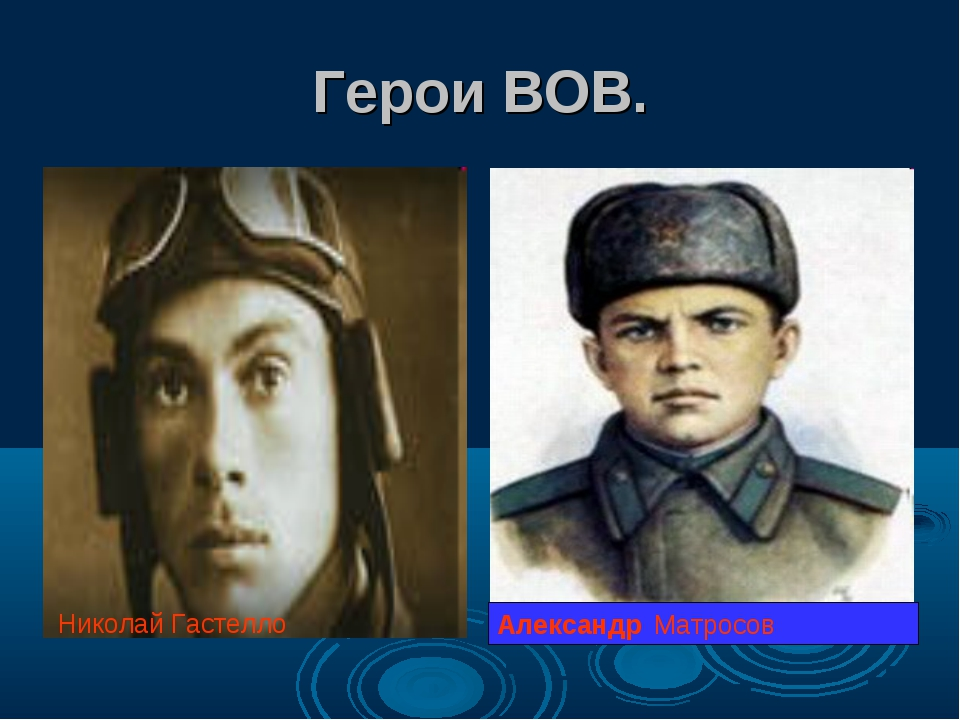 Герои ВОВ. Александр Матросов Николай Гастелло