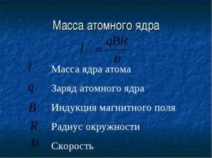 Масса атомного ядра Масса ядра атома Заряд атомного ядра Индукция магнитного