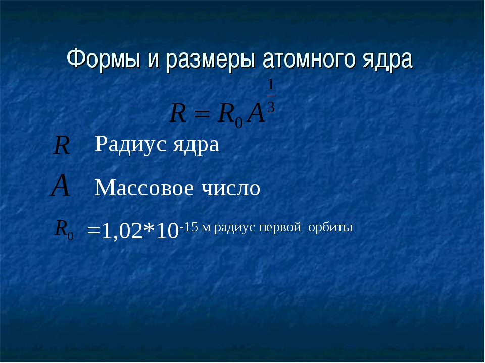 Формы и размеры атомного ядра Радиус ядра Массовое число =1,02*10-15 м радиус...