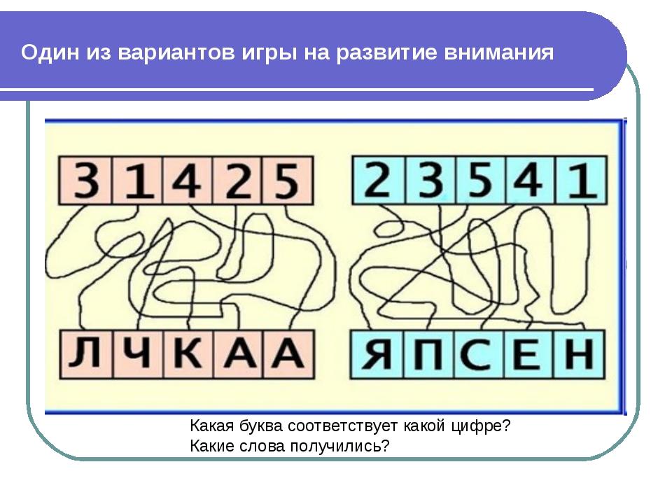 Один из вариантов игры на развитие внимания Какая буква соответствует какой ц...