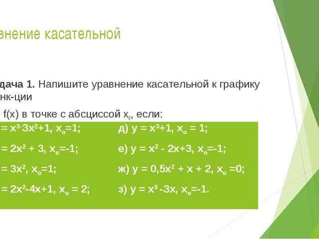 Уравнение касательной Задача 1. Напишите уравнение касательной к графику функ...