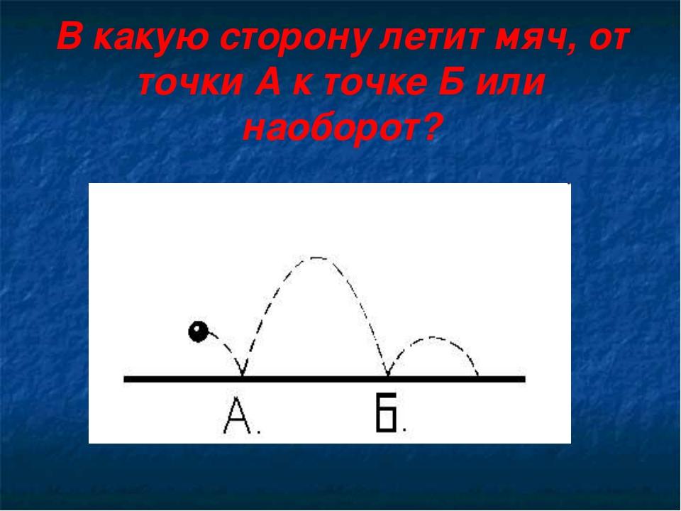В какую сторону летит мяч, от точки А к точке Б или наоборот?