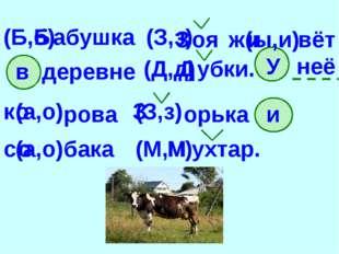 абушка (Б,б) (З,з) оя ж (ы,и) вёт в деревне (Д,д) убки. У неё к (а,о) рова (З