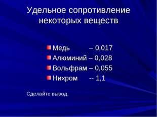 Удельное сопротивление некоторых веществ Медь – 0,017 Алюминий – 0,028 Вольфр