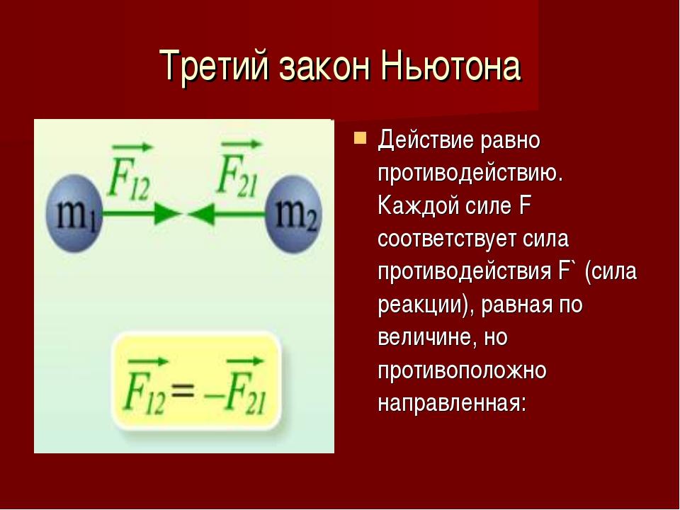 Третий закон Ньютона Действие равно противодействию. Каждой силе F соответств...