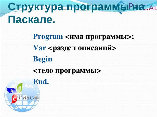 Program ; Var  Begin  End. Структура программы на Паскале.