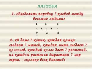 АЛГЕБРА 1. «Разделить поровну 7 хлебов между восьмью людьми» 1 1 1 - + - + -